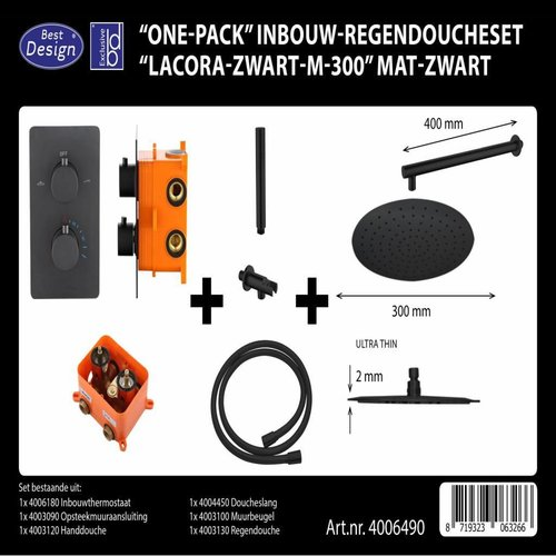 Regendouche Inbouwset Best Design 'One-Pack' Lacora M-300 Mat Zwart