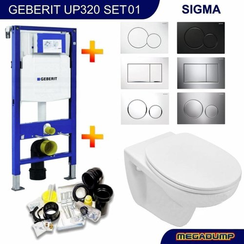 UP320 Toiletset 01 Basic Wandcloset Softclose Met Sigma Drukplaat