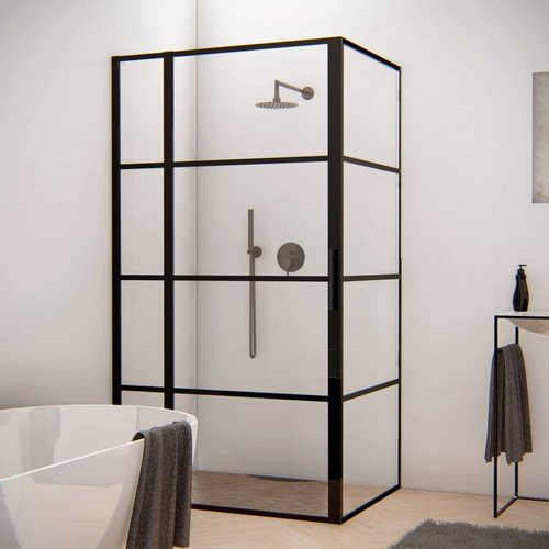 Aqua Splash Douchecabine Frame 120x80 cm 8 mm NANO Glas Mat Zwart Raster