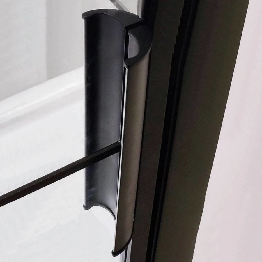 Aqua Splash Douchecabine Frame 80x100 cm 8 mm NANO Glas Mat Zwart Raster