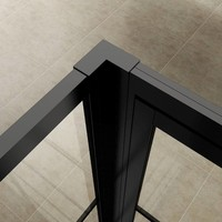AQS Nisdeur Frame met Vast Paneel 8 mm NANO Glas Mat Zwart Raster (ALLE MATEN)