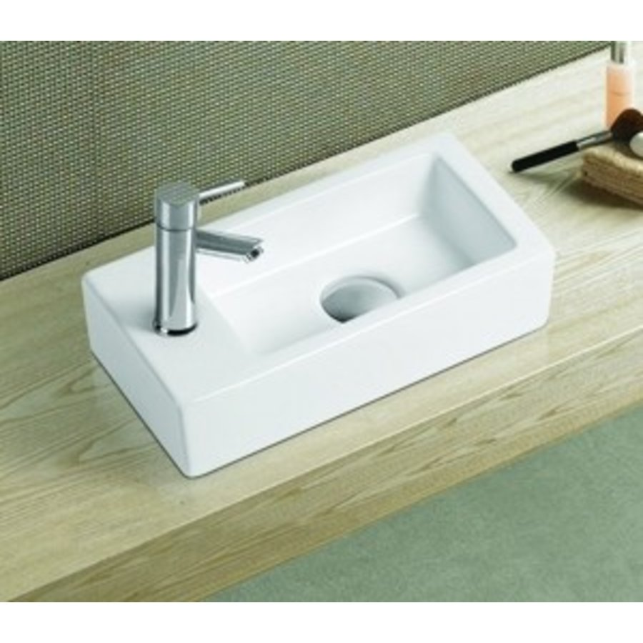 Keramisch fontein Qubic Mini 36,5x18x9 cm rechts / links
