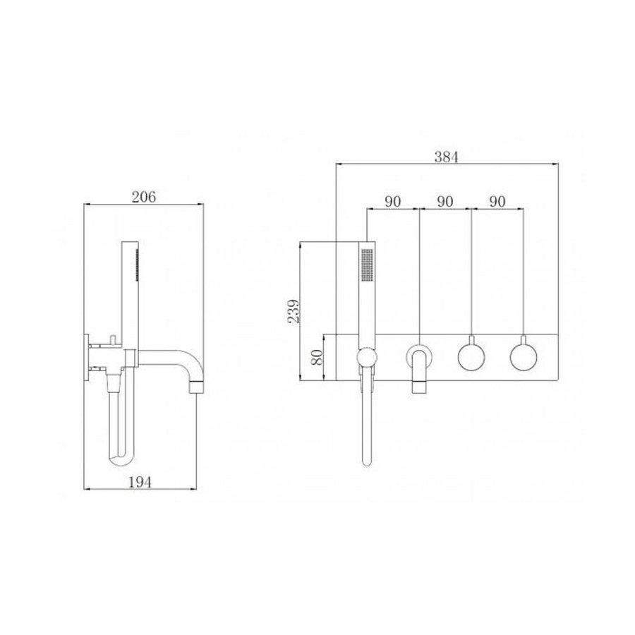 Badkraan Boss & Wessing Exclusive Thermostaat Inbouw 2-knops Mat Zwart