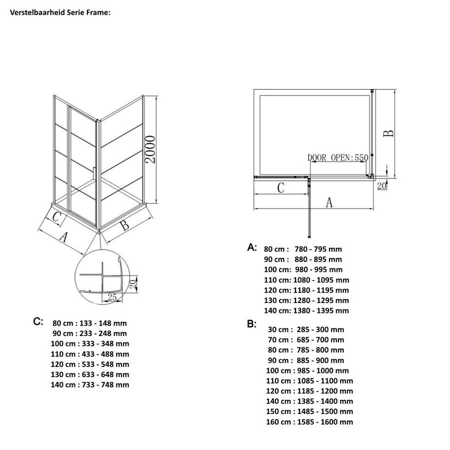 AQS Douchecabine Deur Frame met Vast Paneel 110x200 cm 8 mm NANO Glas Mat Zwart Raster