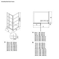 AQS Douchecabine Deur Frame met Vast Paneel 130x200 cm 8 mm NANO Glas Mat Zwart Raster