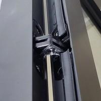 AQS Nisdeur Frame met Vast Paneel 110x200 cm 8 mm NANO Glas Mat Zwart Raster