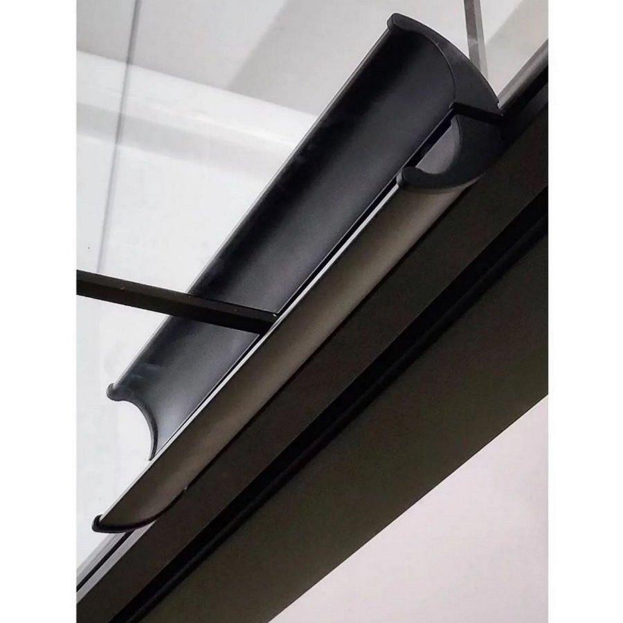 AQS Nisdeur Frame met Vast Paneel 150x200 cm 8 mm NANO Glas Mat Zwart Raster