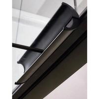 AQS Nisdeur Frame met Vast Paneel 70x200 cm 8 mm NANO Glas Mat Zwart Raster