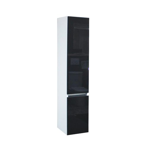 Kolomkast Isvea Twee Soft-Close deuren Greeploos 30x35x150 cm Rechts Hoogglans Antraciet