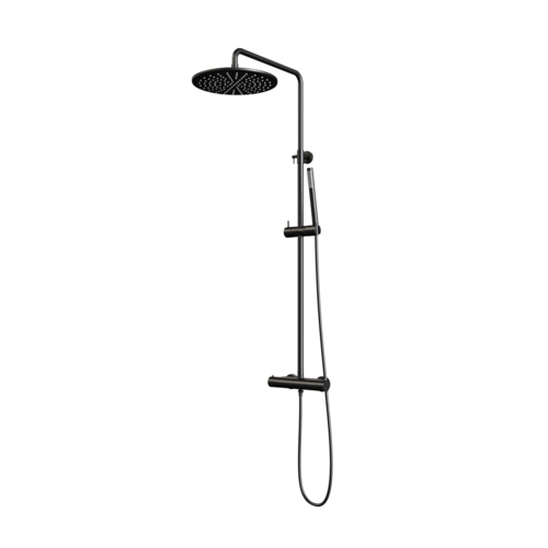 Regendouche Brauer Black Showerpipe met Thermostaat 30cm Mat Zwart