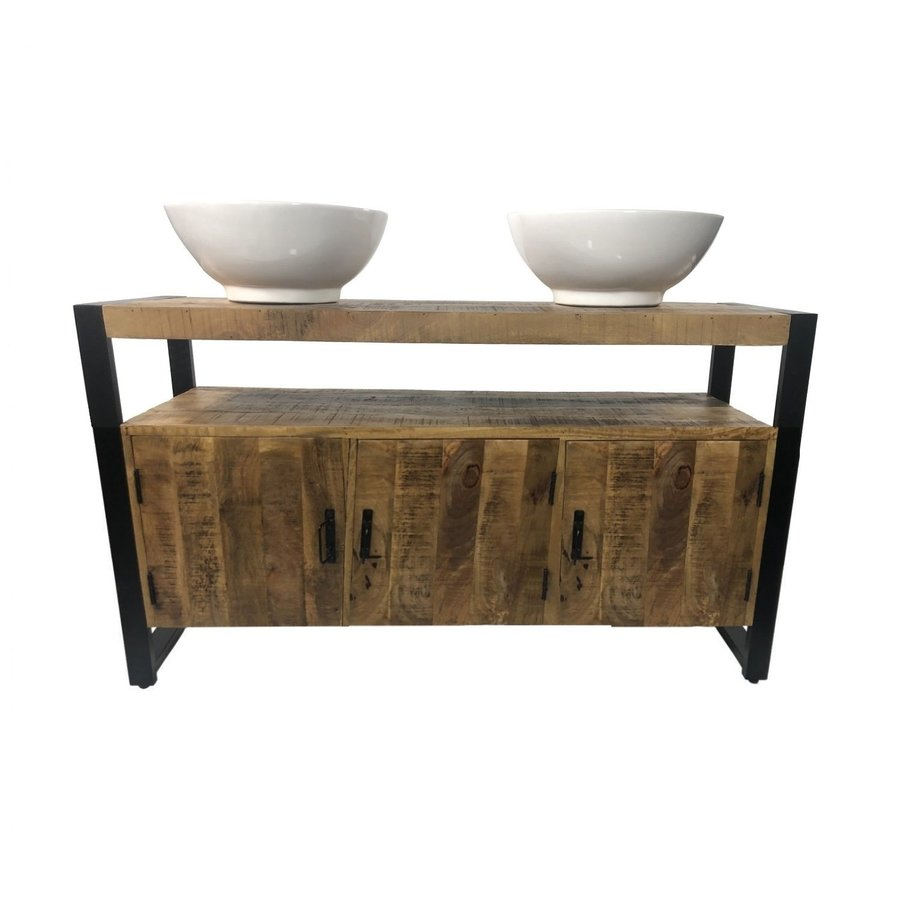Badkamermeubel Mango Wood 135x45x91 cm Met Big Rema Waskommen