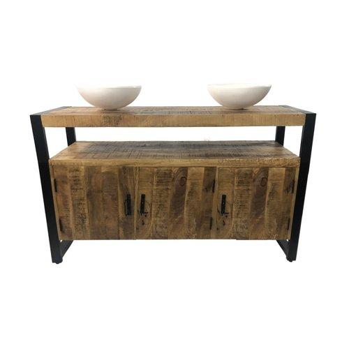 Badkamermeubel Mango Wood 135x45x91 cm Met Solid Surface Waskommen