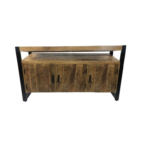 Onderkast Mango Wood 135x45x91 cm Met Mat Zwart Metaal