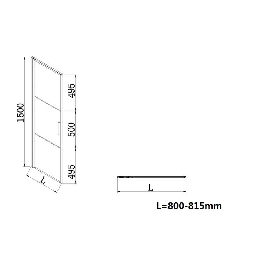 Badwand Frame 150x80 cm 8 mm NANO Glas Mat Zwart Raster