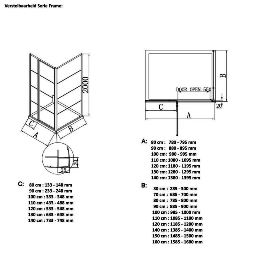 AQS Inloopdouche Frame 120x200 cm 8mm NANO Glas Mat Groen Raster