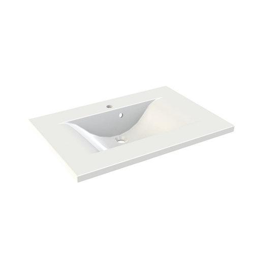 Wastafel Allibert Slide 80,2x53,5x3 cm met Kraangat Polybeton Glanzend Wit