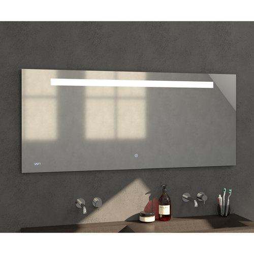 Badkamerspiegel met LED Verlichting Sanitop Clock 160x70 cm met Digitale Klok en Sensor