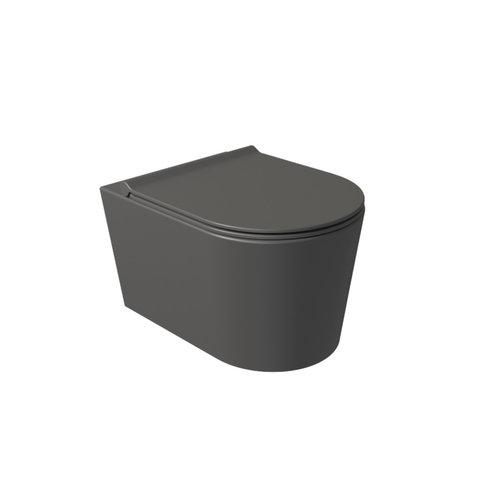 Wandcloset Civita 50x35x36.5cm Keramiek Rimless Mat Antraciet (Excl. zitting)