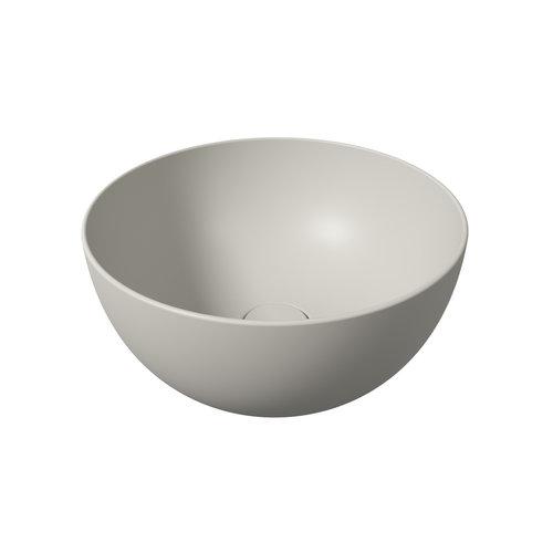 Ronde Wastafel Opbouw Salenzi Unica Round 40x20 cm Mat Grijs (inclusief bijpassende clickwaste)