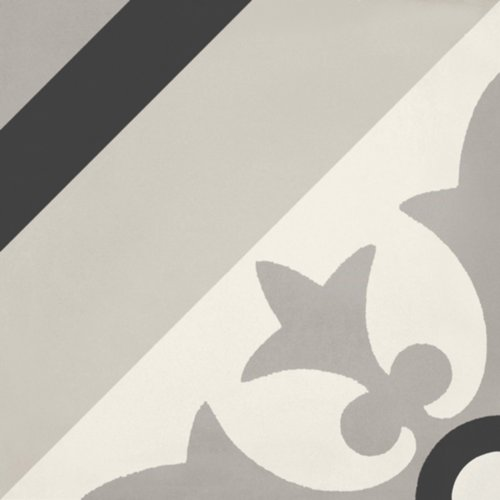 Portugese Vloertegel Jos Hidro Geoflower Black 19.7x19.7 cm (prijs p/m2)
