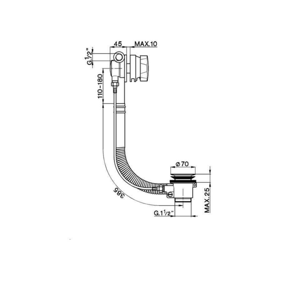Badafvoer met Vulcombinatie Salenzi Giro Gepoedercoat Messing Mat Zwart ø48 mm