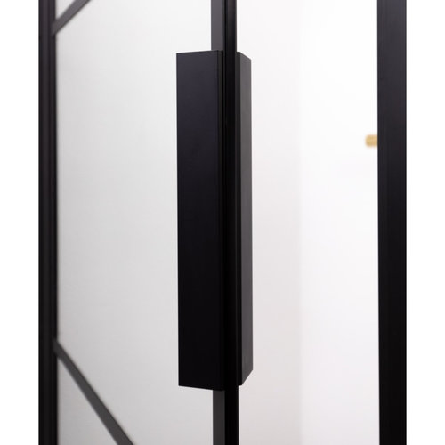 Douchecabine Riho Grid met Vast Paneel 110x80 cm 6mm Helderglas Zwarte Profielen