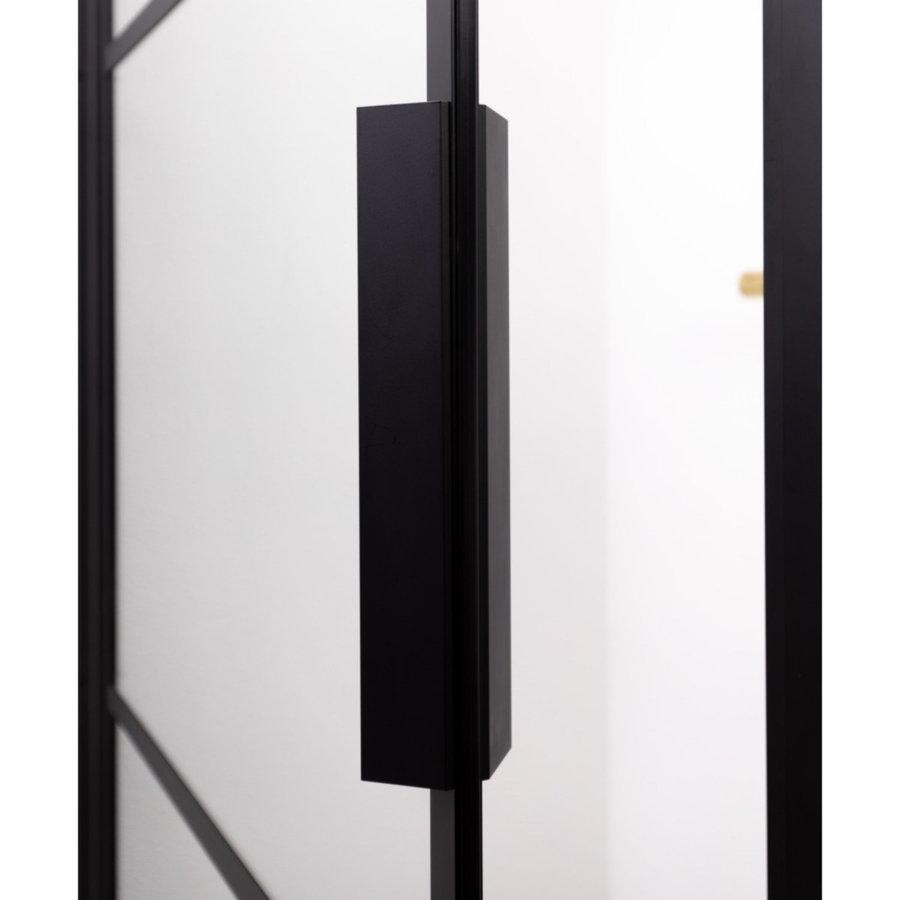 Badwand met Klapdeur Riho Grid 80x150 cm 6 mm Helderglas Zwarte Profielen Rechts