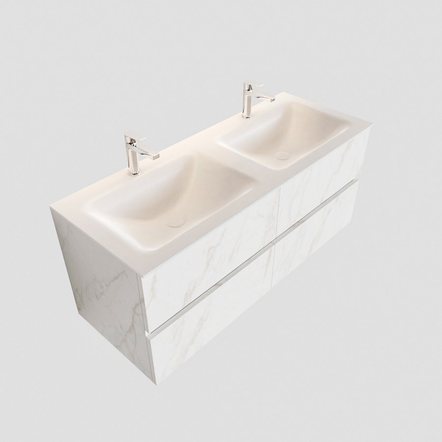 Badmeubel AQS Valencia Carrara Mat 120 cm Solid Surface Rechthoekige Wasbak (zes varianten)