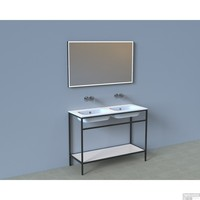 Badkamermeubelset Industrieel AQS Frame Staand 120 Mat Zwart Aluminium (zonder kraangaten)