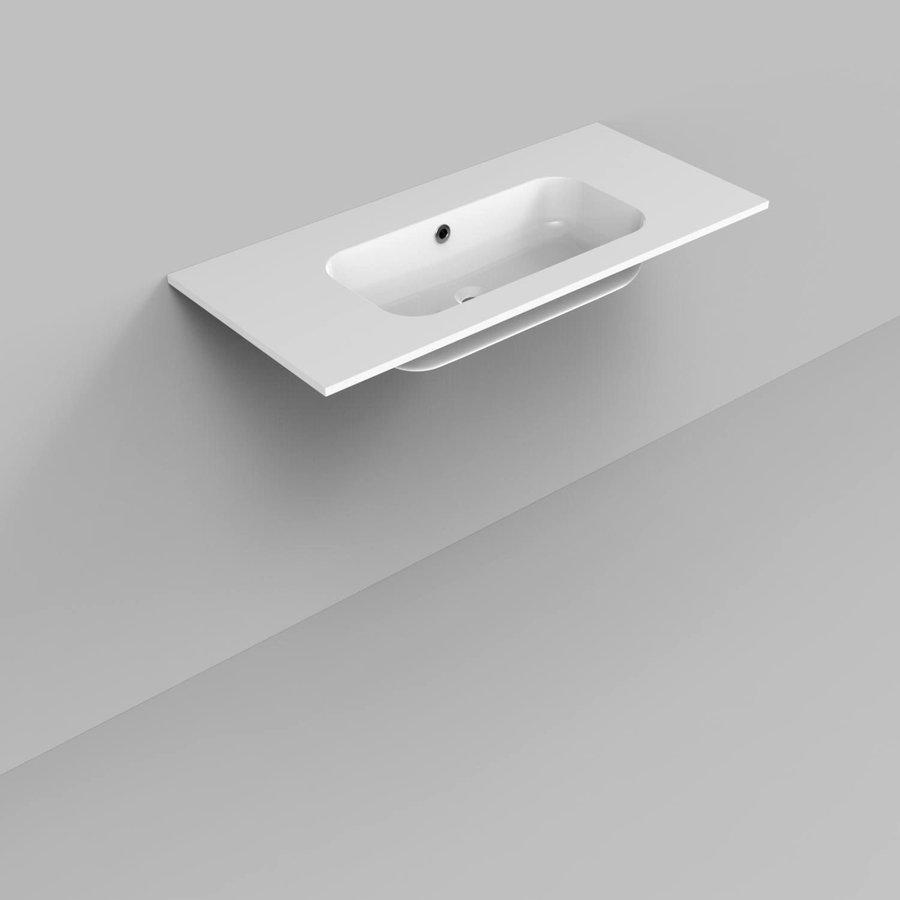 Badkamermeubelset Industrieel AQS Frame Staand 100 Mat Zwart Aluminium (zonder kraangat)