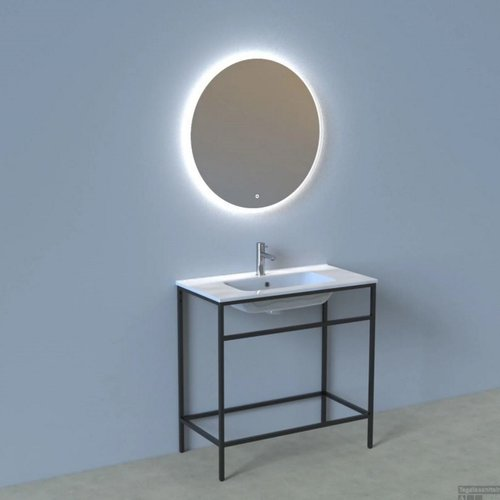 Badkamermeubelset Industrieel AQS Frame Staand 90 Mat Zwart Aluminium met Spiegel