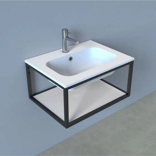 Badkamermeubelset Industrieel AQS Frame Hangend 60 Mat Zwart Aluminium (exclusief spiegel)