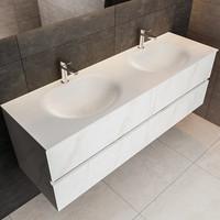 Badmeubel AQS Valencia Carrara Mat 150 cm Solid Surface Ronde Wasbak (zes varianten)