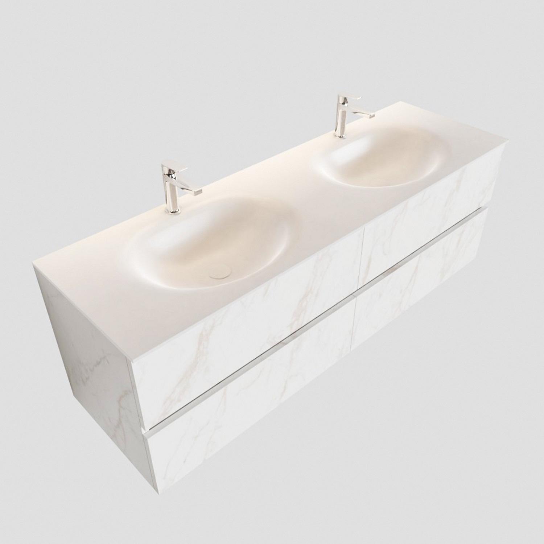 Ronde Inbouw Wasbak.Aqua Splash Badmeubel Aqs Valencia Carrara Mat 150 Cm Solid Surface Ronde Wasbak Zes Varianten
