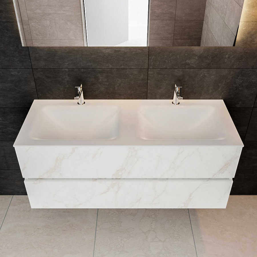 Badmeubel AQS Valencia Carrara Mat 120 cm met Twee Lades Solid Surface (acht varianten)