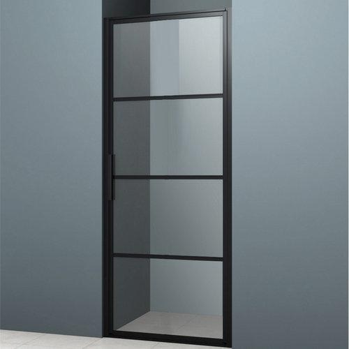 Nisdeur Lacus Tremiti 75x200 cm 6mm Helder Glas Mat Zwart Aluminium Profiel
