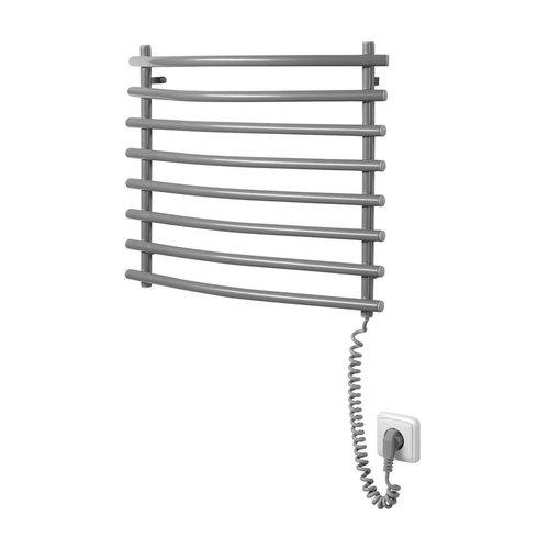 Elektrische Handdoekradiator Sapho Aqualine Gebogen 46.5x50 cm Zilver