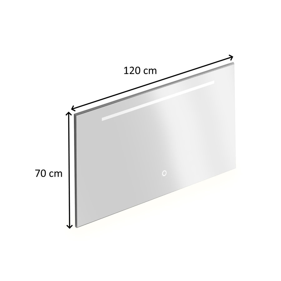 Badkamerspiegel Xenz Bardolino 120x70 cm met Horizontale Verlichtingsbaan en Spiegelverwarming