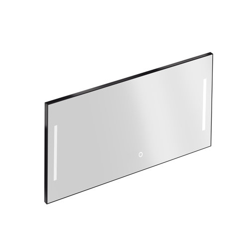 Badkamerspiegel met Verlichting Xenz Pacengo 140x70 cm Industrieel Zwart Frame en Spiegelverwarming