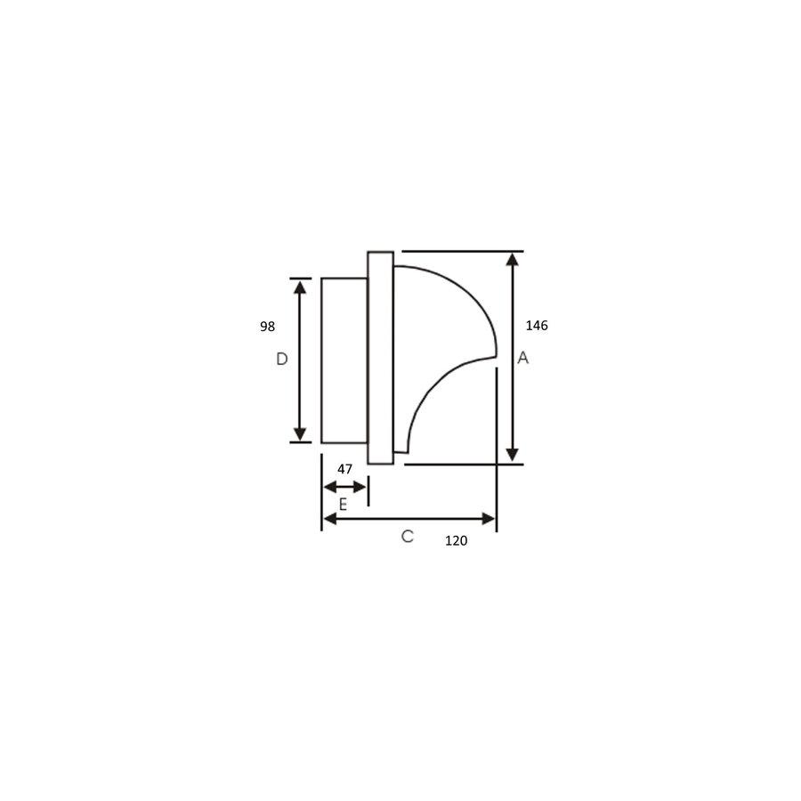 Bolrooster BWS Ventilatie Aansluitmaat Ø 100 mm Grofmazig Gaas Met Hoge Doorlaat RVS