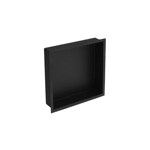Inbouwnis Plieger Inbox Wand Met Flens 30x30x7.5cm Waterproof Zwart