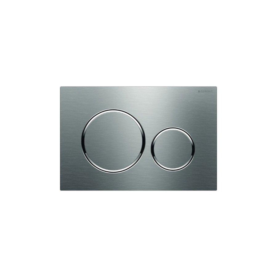 Bedieningsplaat Geberit Sigma 20 DF Met Gepolijste Designringen Geborsteld RVS
