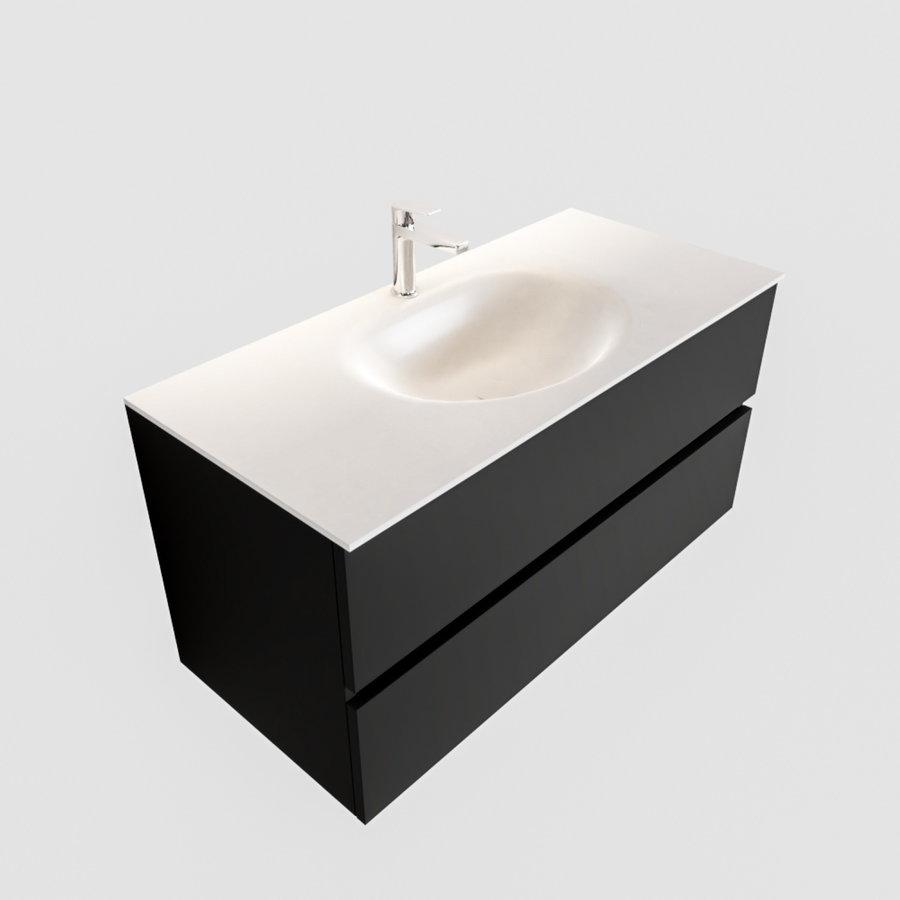 Badkamermeubel Solid Surface AQS Stockholm 100x45 cm Mat Zwart Urban (zes varianten)