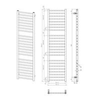 Handdoekradiator Sapho Dina Recht 40x156 cm Metallic Antraciet