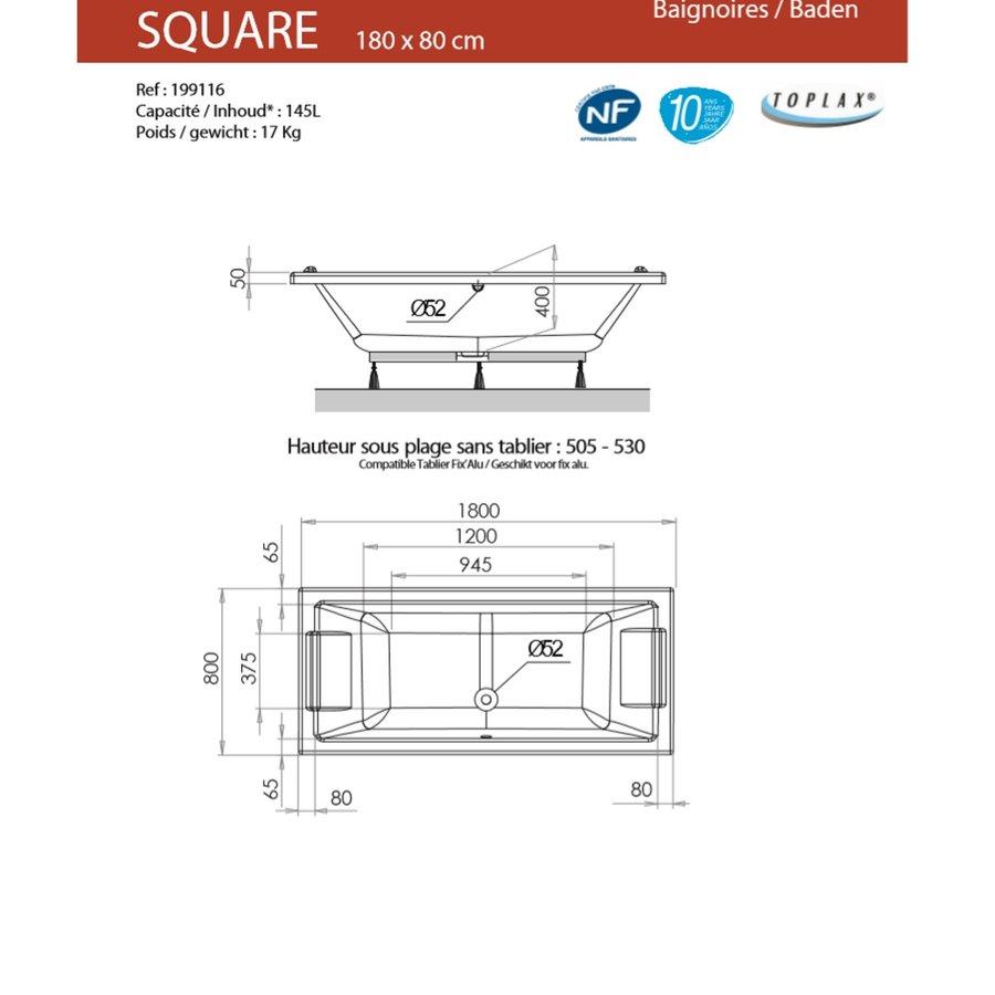 Allibert SQUARE Rechthoekig Ligbad 180x80x50,5-53,5 Wit