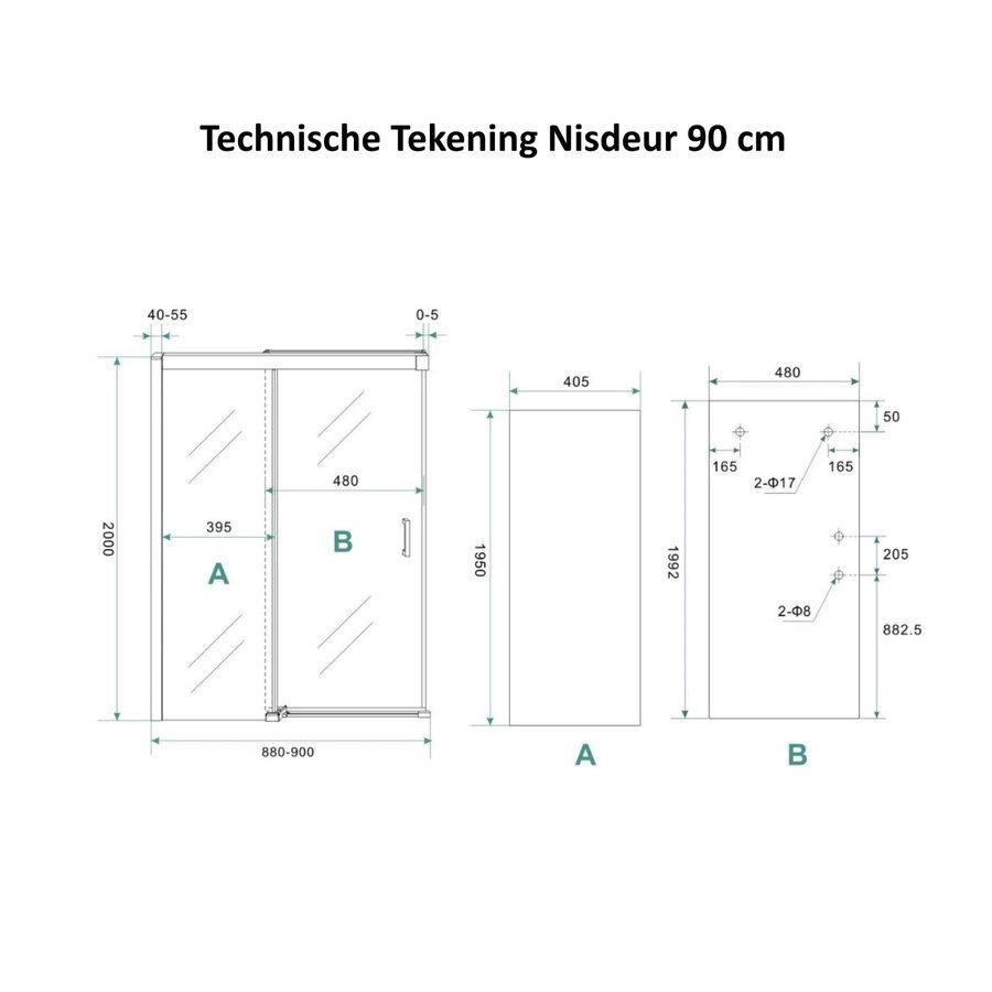 AQS Douchecabine Softclose 2.0 90 cm met Nisdeur en Zijwand 8mm Aluminium NANO Coating (alle varianten)