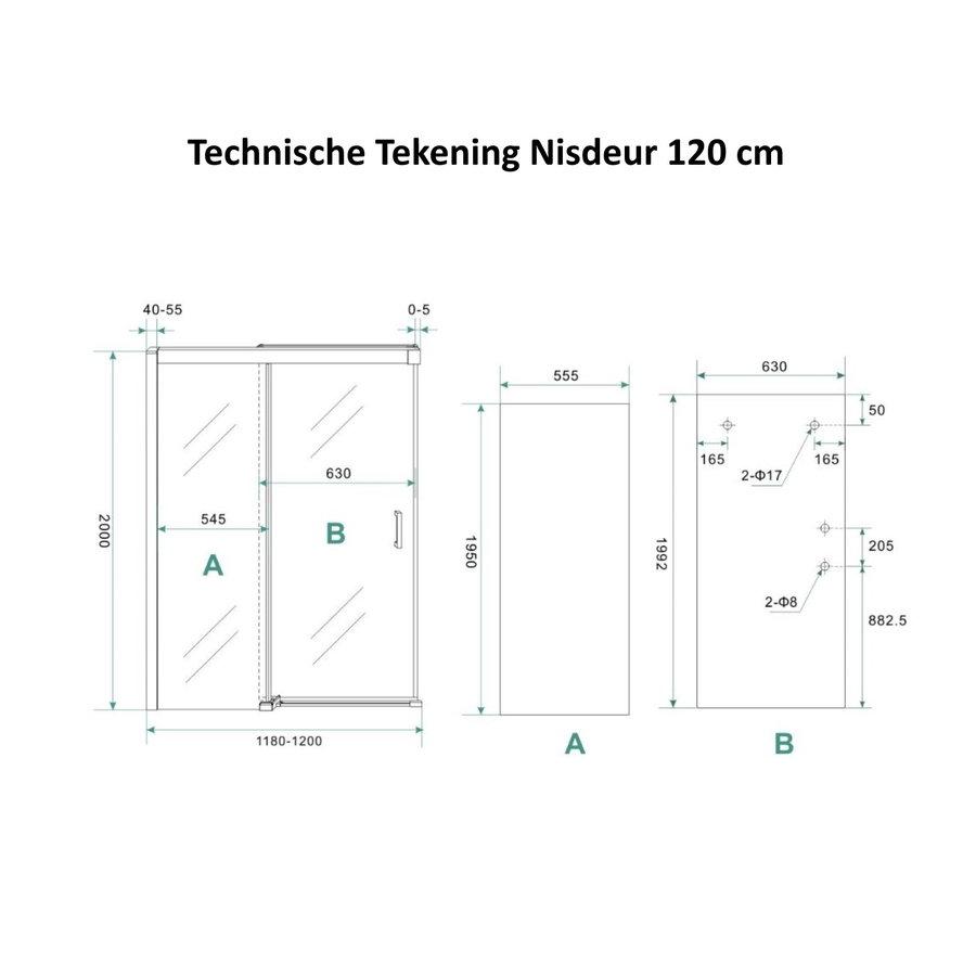 AQS Douchecabine Softclose 2.0 120 cm met Nisdeur en Zijwand 8mm Aluminium NANO Coating (alle varianten)