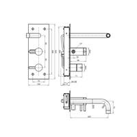 Badkraan Inbouw Sapho Minimal Mengkraan 2-knop 22.5 cm RVS