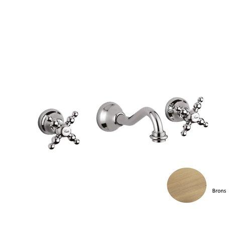 Inbouw Wastafel Mengkraan Sanimex Giulini Retro Model Tweegreeps Kruisgreep 20cm Inclusief G-Link Inbouwdeel Brons