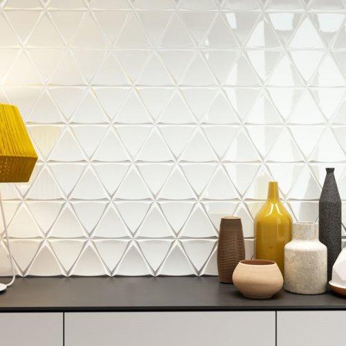 Wandtegel Zyx Triangle Channel White Glossy 15x17 cm Glans Wit